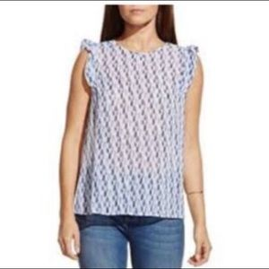 Two By Vince Camuto Tribal Ruffle Sleeveless Top